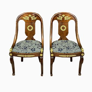 Empire Mahogany & Bronze Dining Chairs with Dolphins, Set of 2