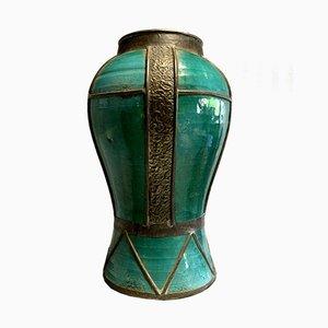 Glazed Ceramic Iron Vase, 1940s