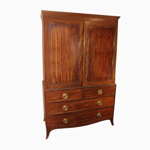 Antique Mahogany Hanging Linen Press, 1900s