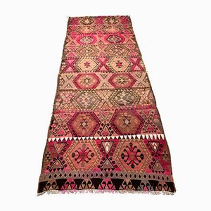 Vintage Turkish Pink, Beige, Brown & Black Kilim