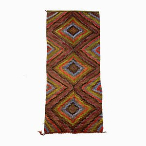 Vintage Turkish Purple, Red, Black & Blue Kilim