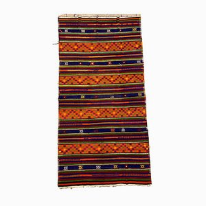 Vintage Turkish Red, Green, Blue & Orange Kilim