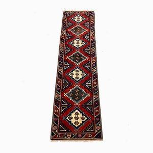 Vintage Turkish Red, Beige & Blue Tribal Runner Rug, 1950s