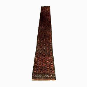 Vintage Handmade Wool Narrow Tribal Runner Rug in Red, Black, 1950s