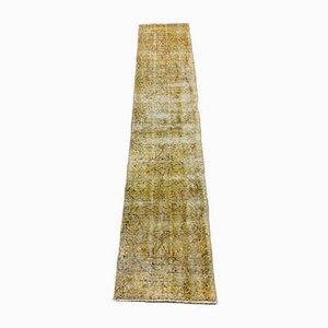 Turkish Overdyed Yellow Wool Narrow Runner Rug, 1950s