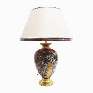 Große italienische Vintage Tischlampe mit Sockel aus Porzellan von Paolo Marioni für Marioni