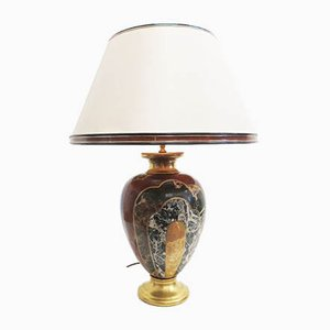 Lámpara de mesa italiana vintage grande con base de porcelana de Paolo Marioni para Marioni