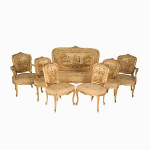 Wohnzimmergarnitur aus Vergoldetem Holz und Tapisserie im Louis XV Stil, 19. Jh