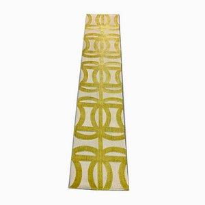 Vintage Yellow & Beige Wool Narrow Runner Rug, 1950s