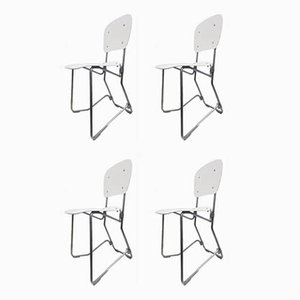 Mid-Century White Folding Chairs by Armin Wirth for Ph. Zieringer KG, Set of 4
