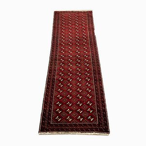 Vintage Turkish Tribal Wool Runner Rug in Red and Black, 1950s