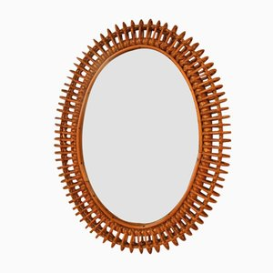 Oval Rattan Mirror by Franco Albini, 1970s