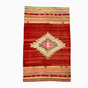 Large Vintage Turkish Wool Kilim Tribal Rug in Red and Beige, 1960s