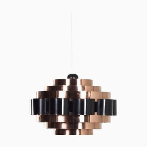 Copper Pendant Lamp by Werner Schou for Coronell Elektro, Denmark, 1970s