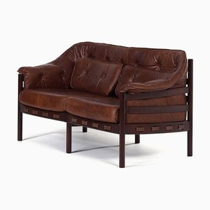 Rosewood & Leather Sofa by Sven Ellekaer for Coja, 1970s