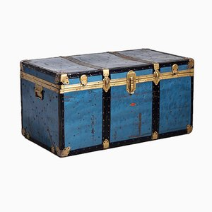 Antique Italian Blue Trunk, 1919