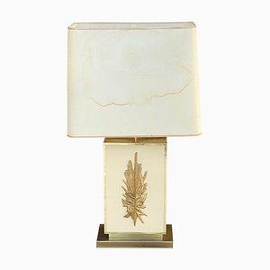 Große Tischlampe aus Messing, Harz & Kunststoff von Philippe Cheverny, 1970er