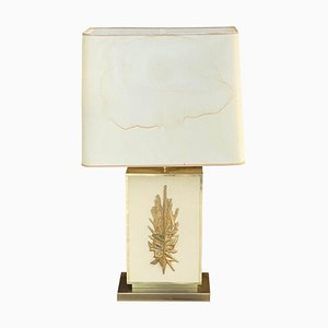 Lampada da tavolo grande in ottone, resina e plastica di Philippe Cheverny, Francia, anni '70