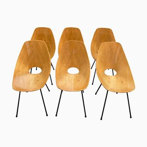Italian Wood and Metal Medea Chairs by Vittorio Nobili for Fratelli Tagliabue, 1950s, Set of 6
