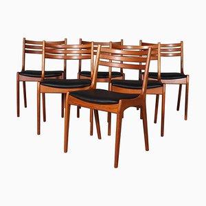 Sedie da pranzo in teak di Henning Kjærnulf, anni '70, set di 6