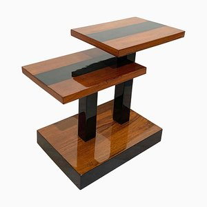 Art Deco Side Tables in Walnut Veneer and Black Polish, France, 1930s
