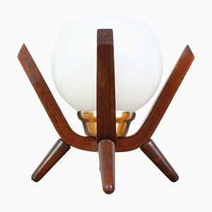 Mid-Century Wood Bedside Table Lamp from Dřevo Humpolec, 1970s