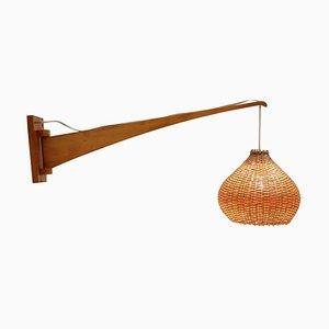 Verstellbare Mid-Century Holz Wandlampe, 1960er