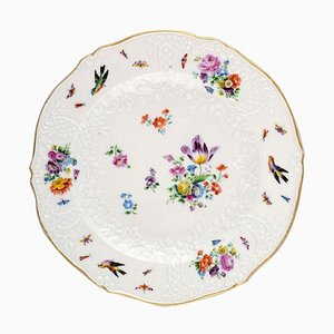 19th Century Meissen Plate in Hand-Painted Porcelain with Flowers and Birds