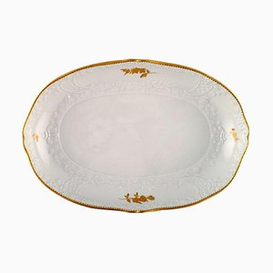 Large Meissen Serving Dish with Flowers and Foliage in Relief and Gold Edge