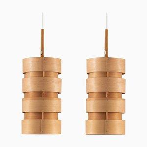 Scandinavian Pendant Lamps in Pine by Hans-Agne Jakobsson for Ellysett, 1960s, Set of 2
