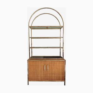 Brass Bamboo and Glass Shelving Unit on Cane Sideboard, 1960s