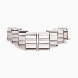 White & Metal Chrome Roll Container Office Cabinets from USM Haller, Set of 8