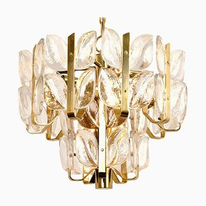 Crystal Glass and Brass Florida Pendant Lamp or Chandelier by J.T. Kalmar, 1960s