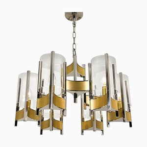 9-Light Chrome and Glass Chandelier by Gaetano Sciolari, 1960s