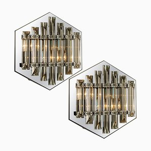 Large Glass Sconces with Triedi Crystals in the Style of Venini, 1970s, Set of 2