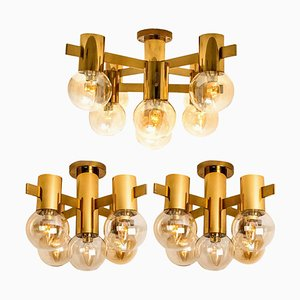 Brass and Glass Light Fixtures in the Style of Hans-Agne Jakobsson, 1960s, Set of 3