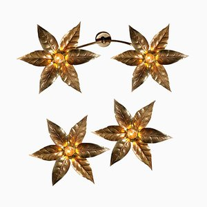 Brass Flower Ceiling or Wall Lights in the Style of Willy Daro, 1970s, Set of 3