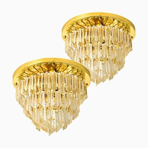 4-Tier Murano Astra Quadrilobo Chandeliers from Venini, Italy, 1960s, Set of 2