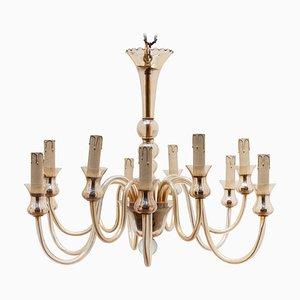 Hollywood Regency Venetian Glass 12-Light Chandelier from Murano Glass Sommerso, 1950s