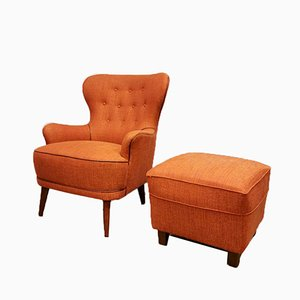 Vintage Wingback Lounge Chair & Ottoman Set by Theo Ruth for Artifort, 1950s