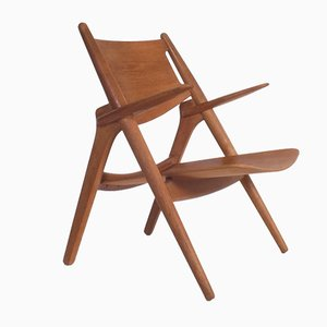 CH28 Lounge Chair by Hans J Wegner for Carl Hansen, Denmark, 1950s