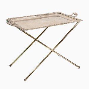 Serviertisch mit Tablett und Tischbeinen aus versilbertem Metall, 19. Jh