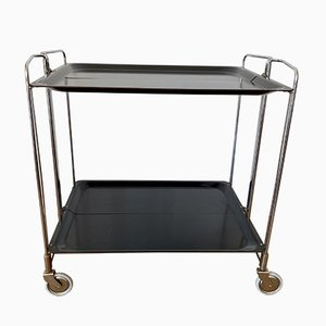 Serving Trolley in Chrome with Black Trays, 1970s