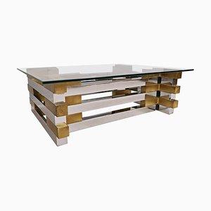 Table Basse en Laiton, Chrome & Verre, 1980s