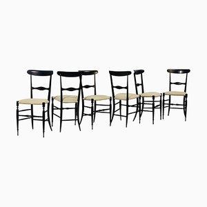 Italian Chiavari Chairs, 1950s, Set of 6