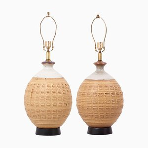 Lámparas de mesa grandes de cerámica de Bob Kinzie, USA, años 60. Juego de 2