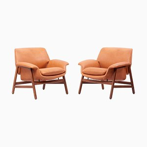 Model 849 Lounge Chairs in Leather by Gianfranco Frattini for Cassina, Italy, 1960s, Set of 2