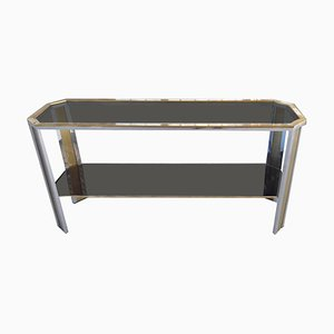 Brass and Steel & Smoked Glass Top Console Table in the Style of Romeo Rega, 1970s