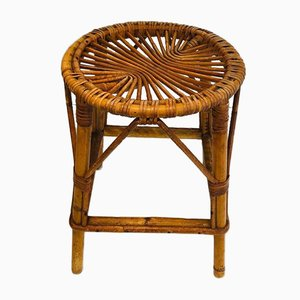 French Rattan Stool, 1970s