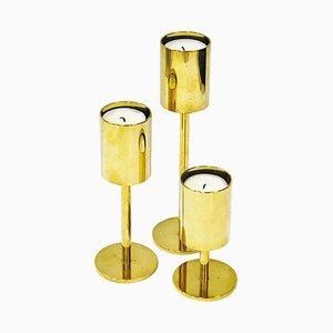 Scandinavian Brass Candleholders, 1970s, Set of 3